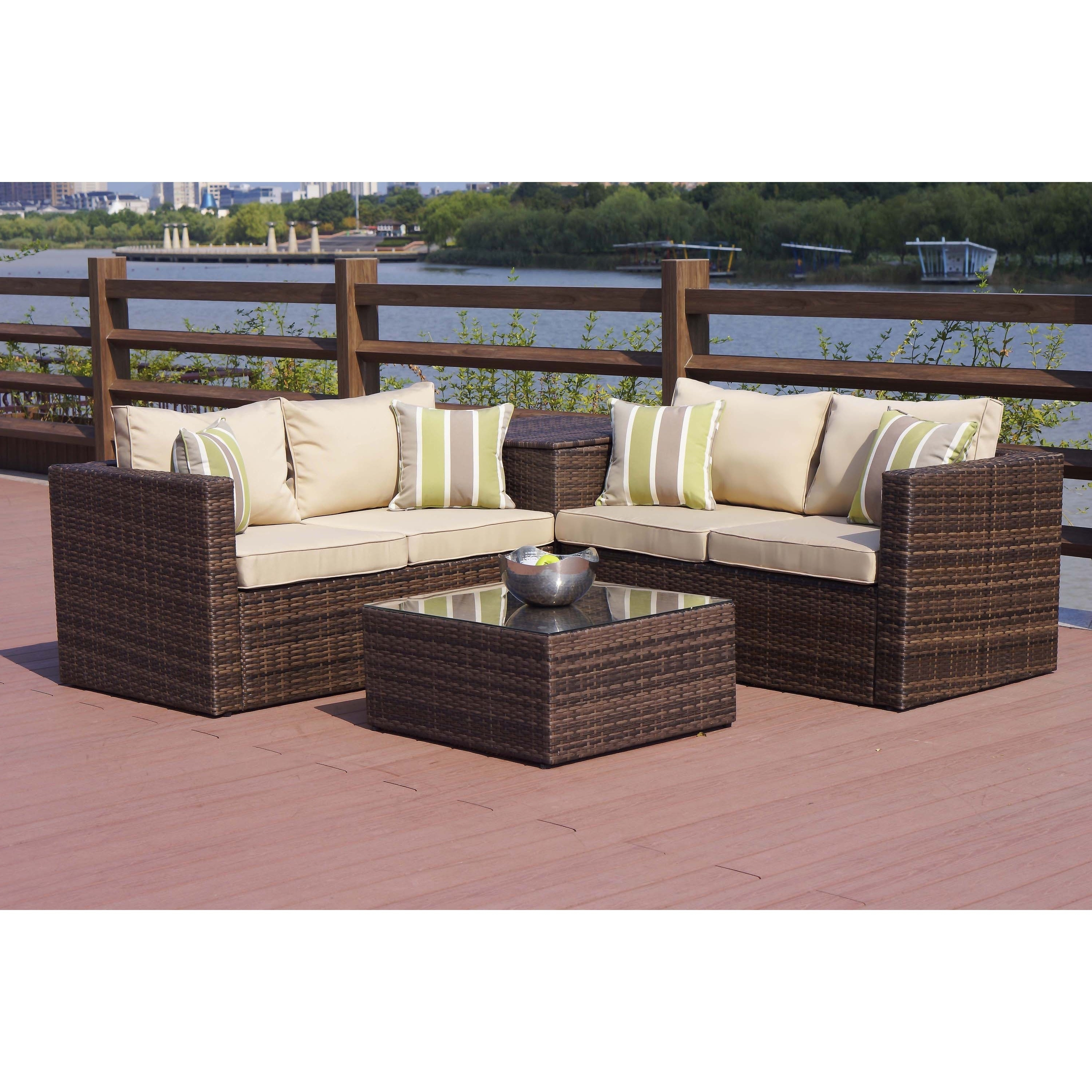 Patio Conversation Set With Storage Pertaining To Current Shop Zoe Outdoor 4 Piece Conversation Set With Storage Box – On Sale (View 12 of 15)