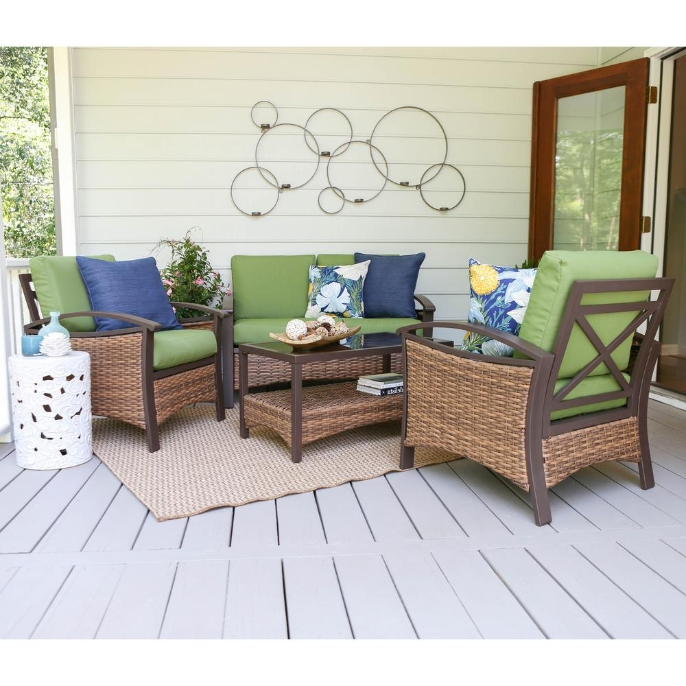 Patio Conversation Sets At Home Depot Pertaining To Most Recent Leisure Made Thompson 4 Piece Wicker Patio Conversation Set With (View 10 of 15)