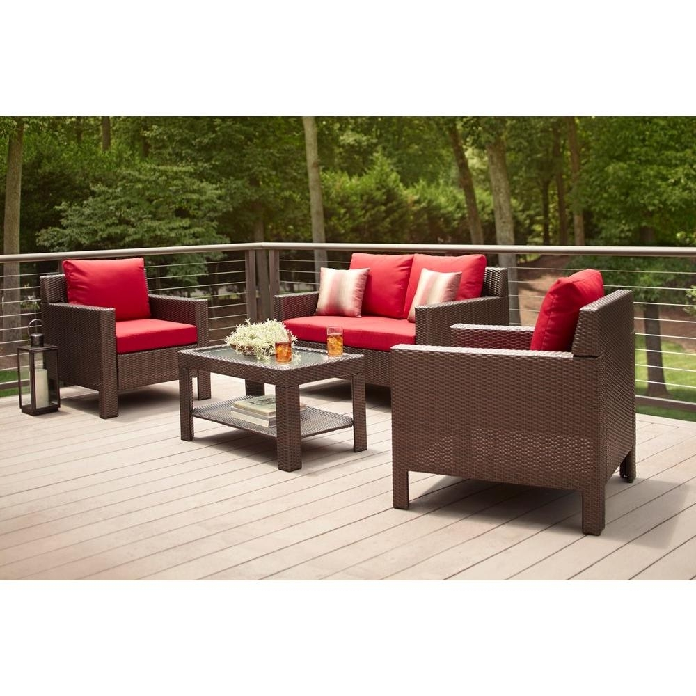 Patio Conversation Sets At Home Depot Throughout Popular Hampton Bay Beverly 4 Piece Patio Deep Seating Set With Cardinal (View 11 of 15)