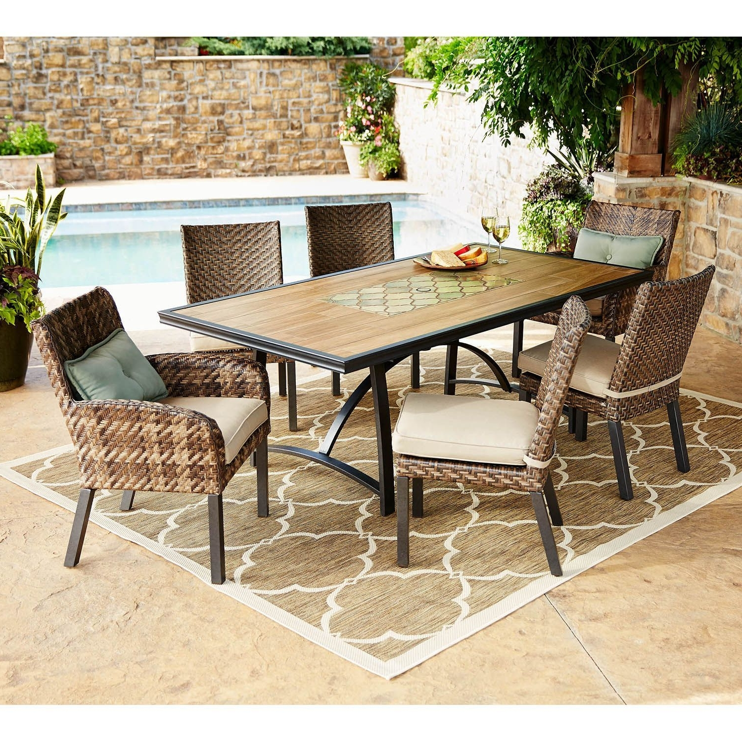 Patio Conversation Sets At Sam's Club Pertaining To Most Recently Released Member's Mark Essex 7 Piece Dining Set With Premium Sunbrella Fabric (View 11 of 15)