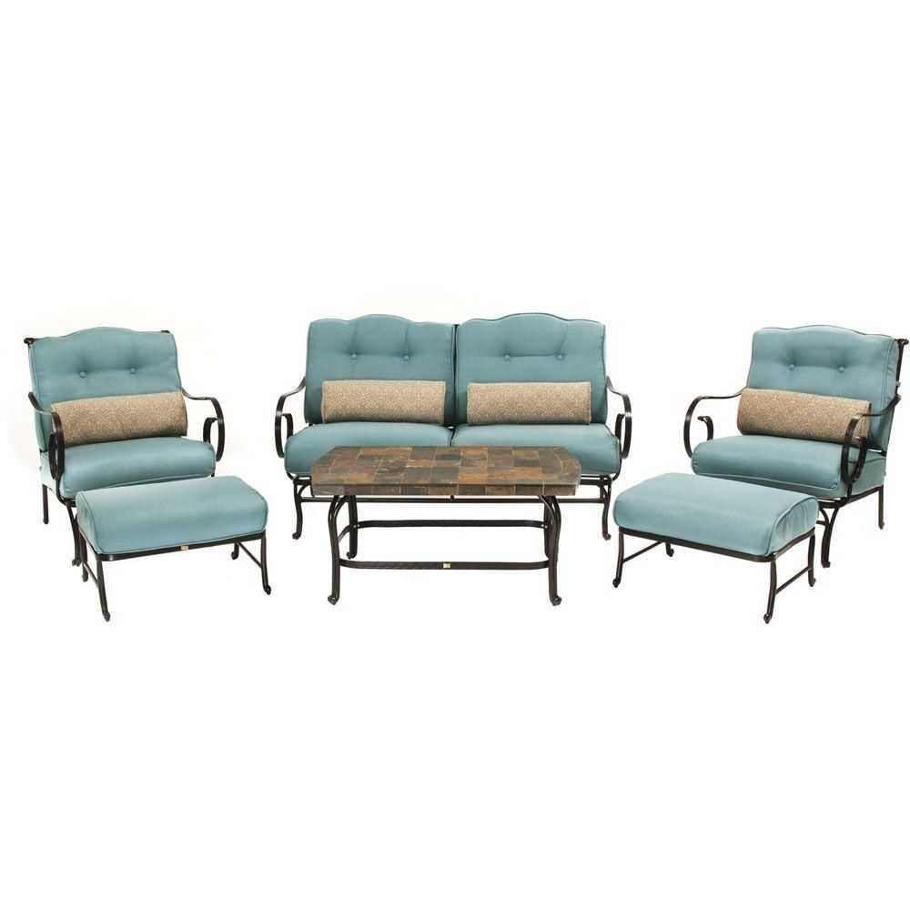 Patio Conversation Sets With Blue Cushions Inside Well Known Hanover Oceana 6 Piece Patio Lounge Seating Set With Nepal Blue (View 9 of 15)