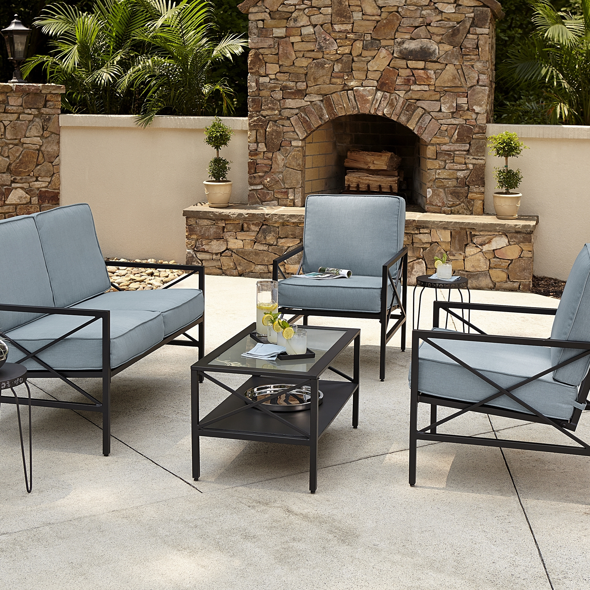 Patio Conversation Sets With Blue Cushions Intended For Most Up To Date Patio : Blue Hill Piecetio Conversation Set Hampton Bay Outdoor Sets (View 10 of 15)