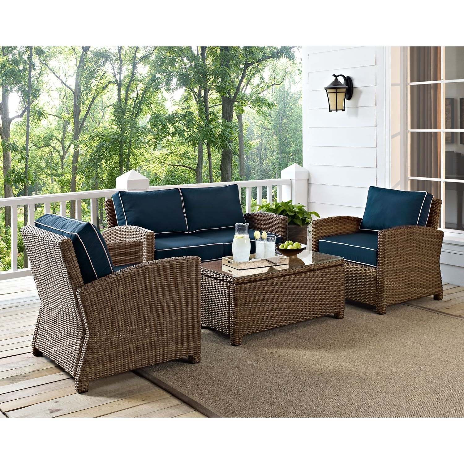 Patio Conversation Sets With Blue Cushions Regarding Current Crosley Furniture Bradenton 4 Piece Outdoor Wicker Seating Set With (View 11 of 15)