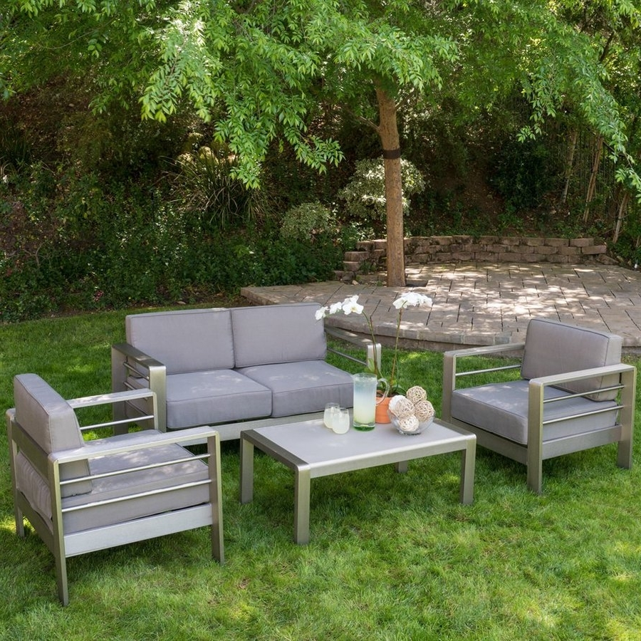Patio Conversation Sets With Cushions For Popular Shop Best Selling Home Decor Mililani 4 Piece Aluminum Frame Patio (View 12 of 15)