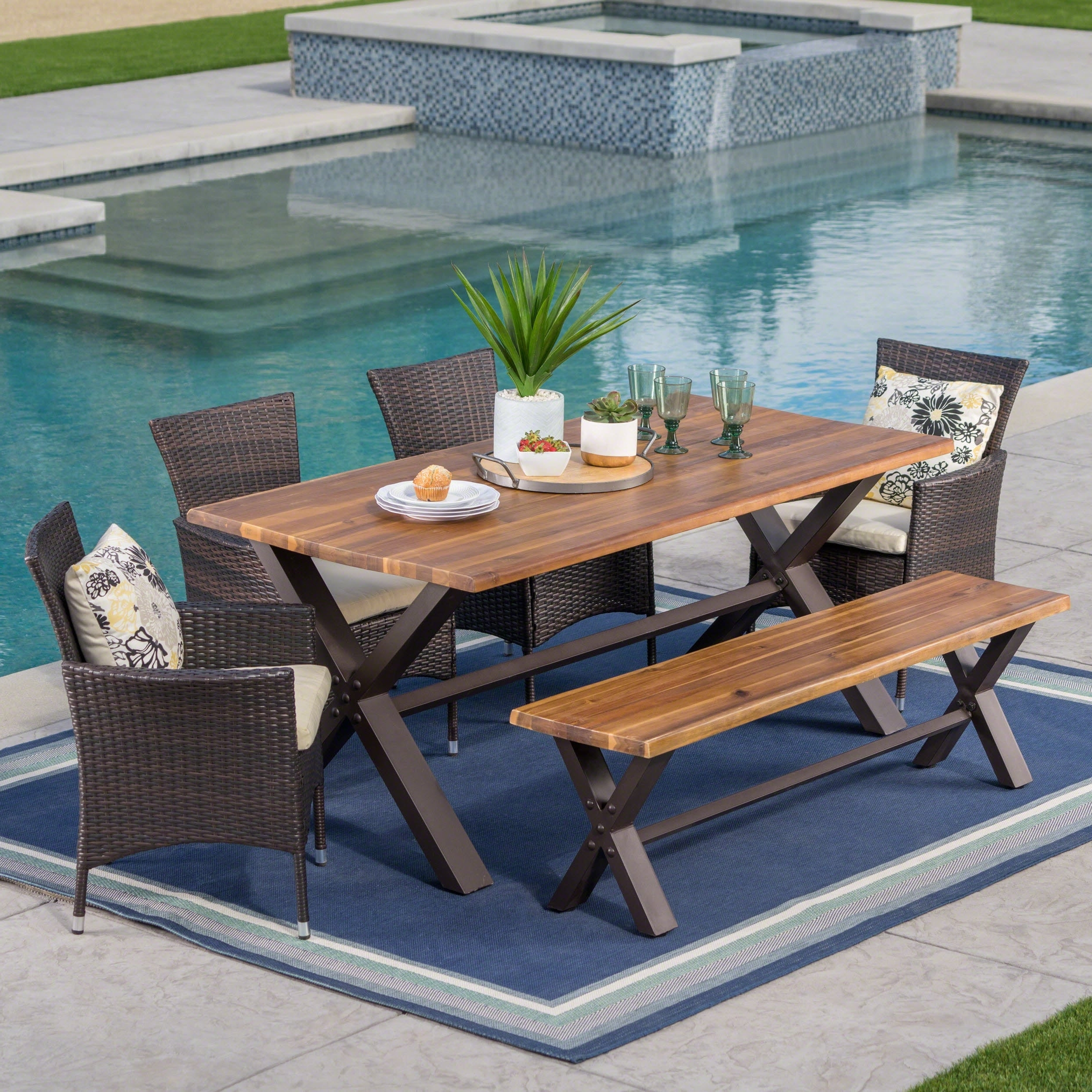 Patio Conversation Sets With Dining Table Within Widely Used Buy Outdoor Dining Sets Online At Overstock (View 11 of 15)