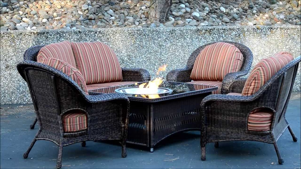 Patio Conversation Sets With Fire Pit Table Throughout Most Recently Released Soar Patio Furniture Sets With Fire Pit Naples Table Balsam Wicker (View 11 of 15)