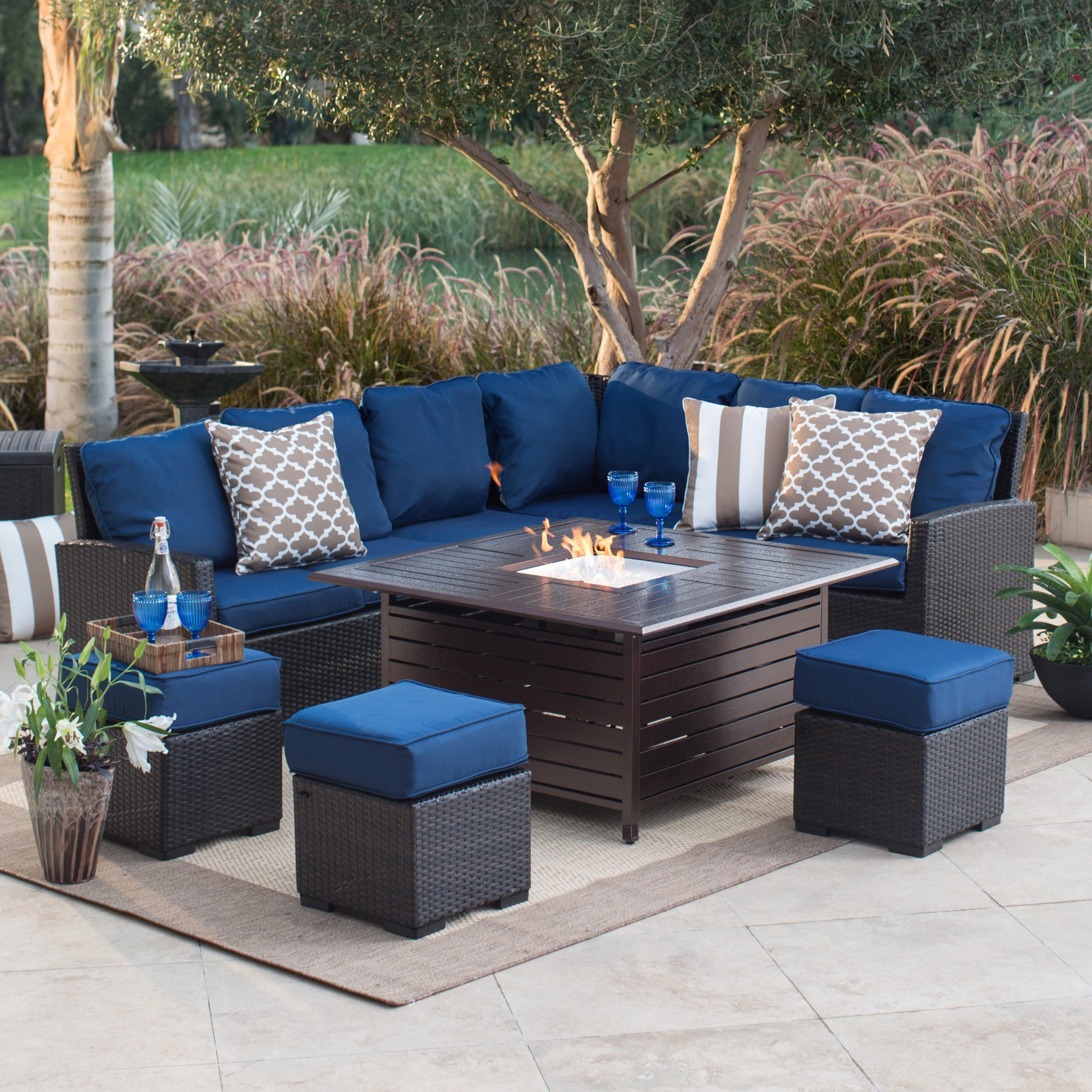 Patio Conversation Sets With Fire Pit With Newest Fire Pit Patio Sets Hayneedle Chat Set Cover Canada Captivating (View 4 of 15)