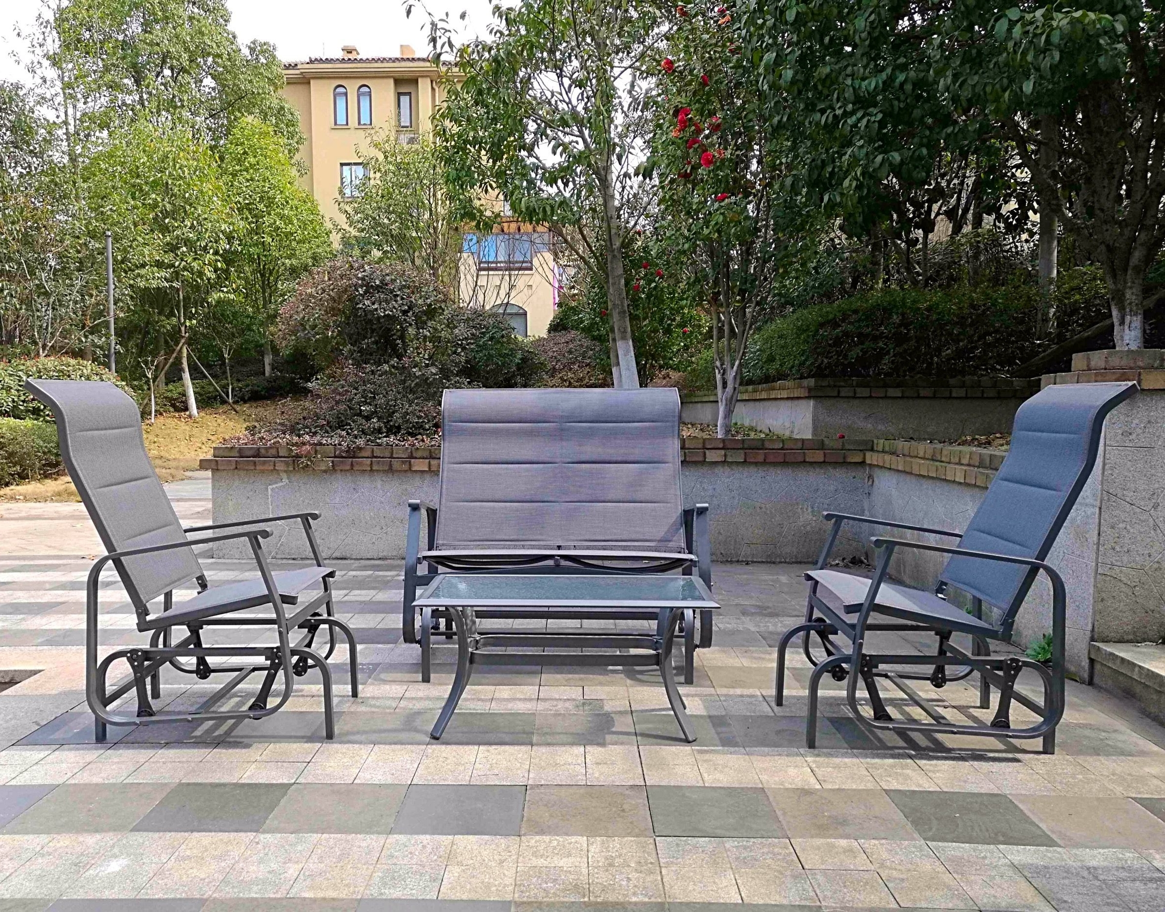 Patio Conversation Sets With Glider Pertaining To Current Conversation Sets Patio – Lovely 4Pc Outdoor Glider Conversation (View 11 of 15)