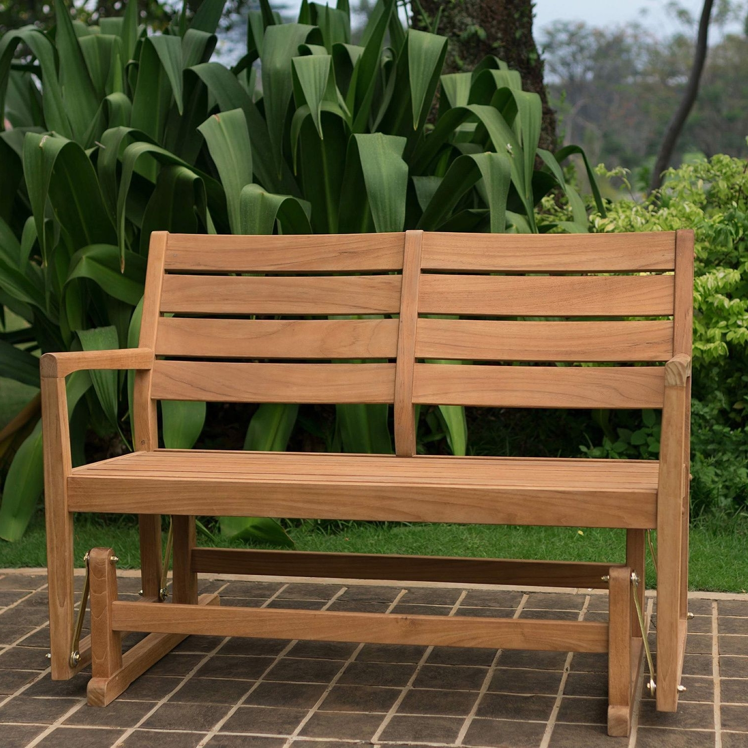 Patio Conversation Sets With Glider With Newest Cambridge Casual Andrea Teak Glider Bench (23.75 L X 35 W X  (View 14 of 15)
