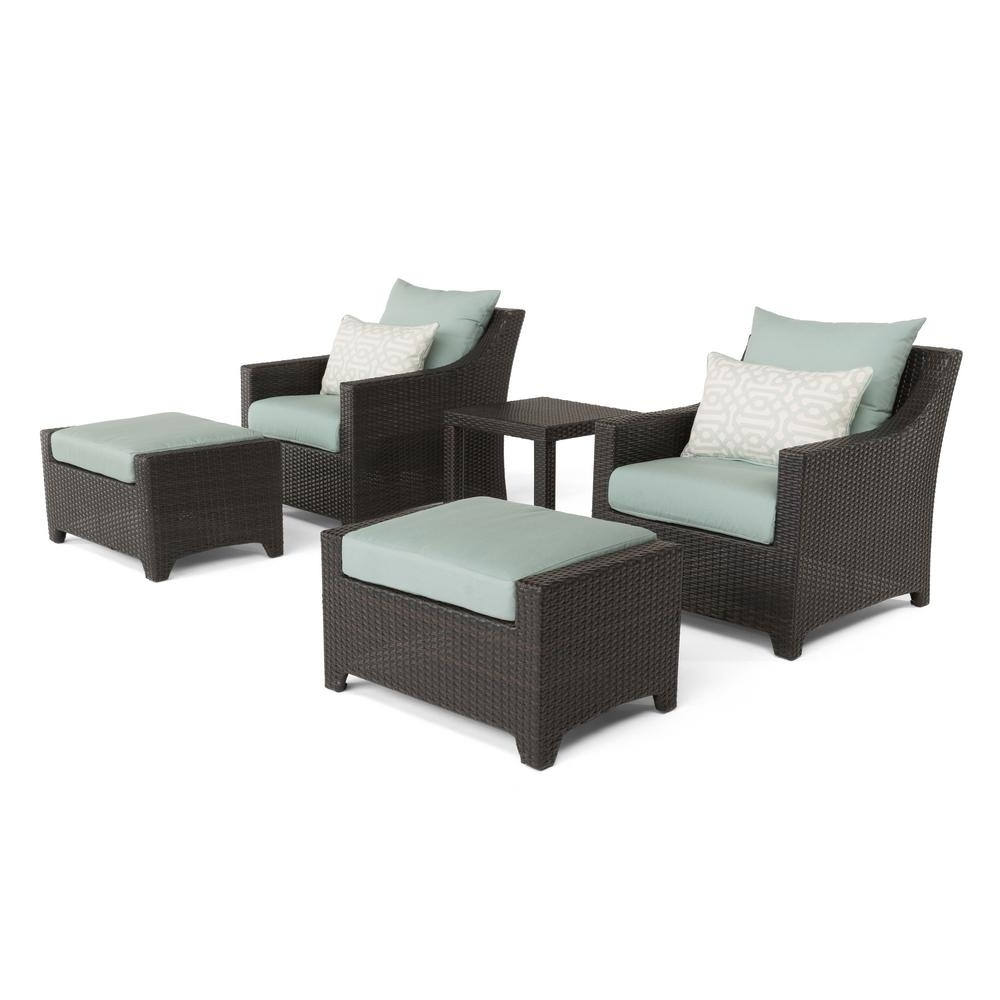 Patio Conversation Sets With Ottoman In Well Known Rst Brands Deco 5 Piece All Weather Wicker Patio Club Chair And (View 6 of 15)