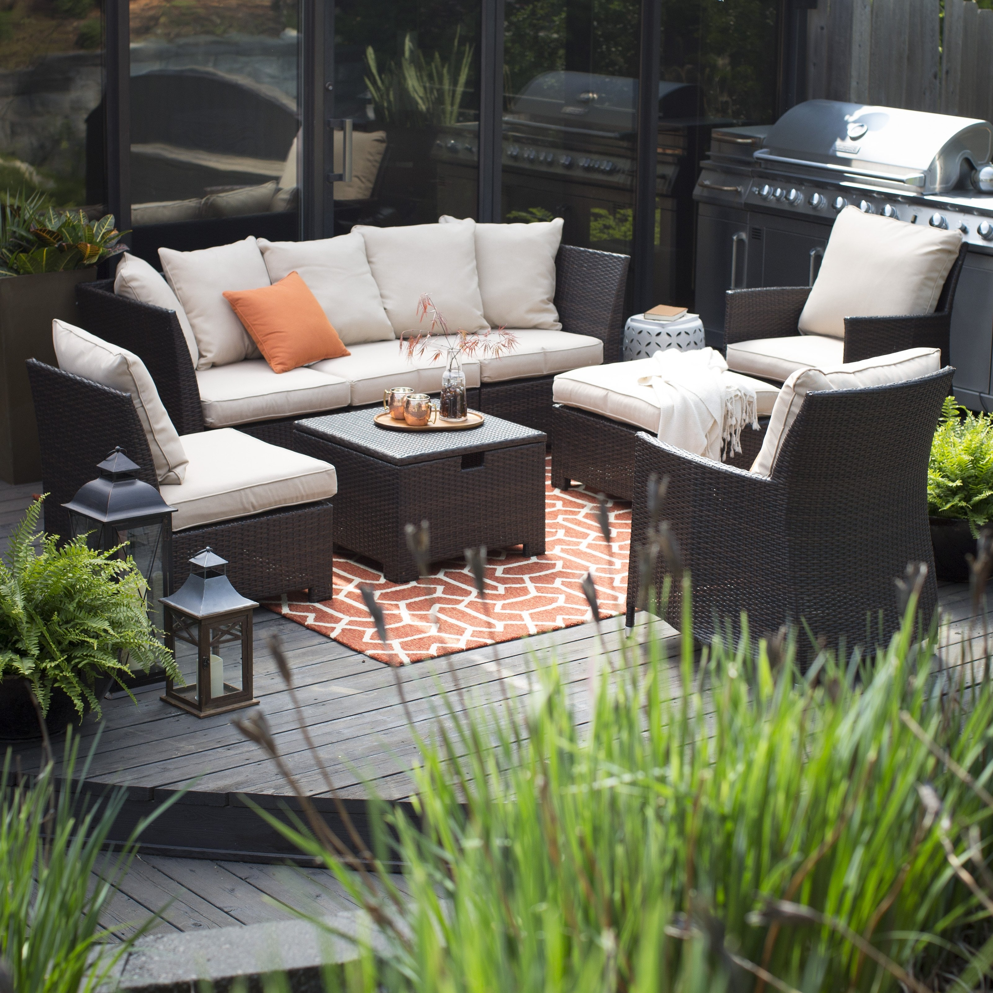 Patio Conversation Sets With Ottomans Within Most Current Furniture: Appealing Dark Wicker Sofa With White Cushions And Wicker (View 8 of 15)
