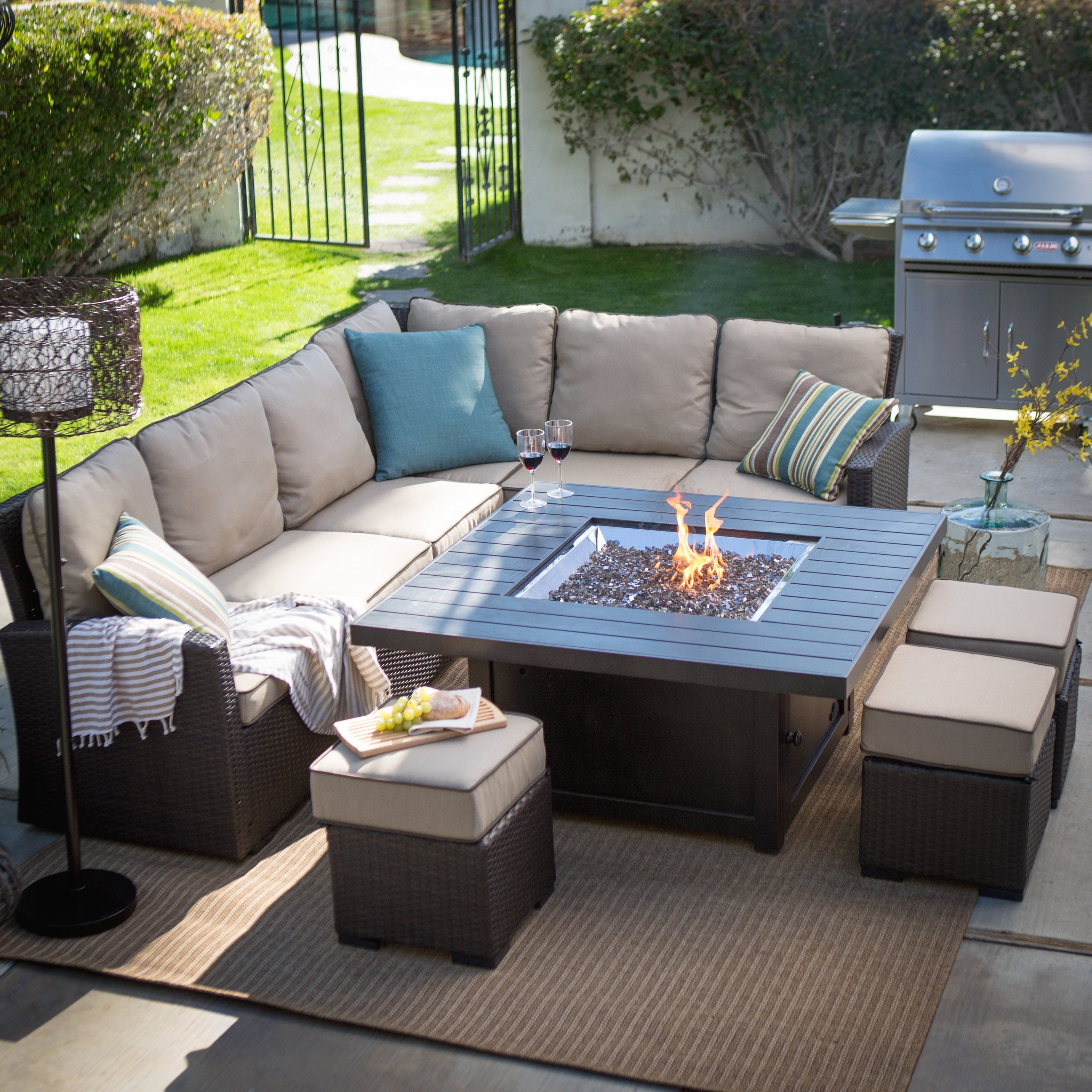 Patio Conversation Sets With Propane Fire Pit Inside Most Recent Colossal Patio Furniture Sets With Fire Pit Porch Chairs Table Cheap (View 6 of 15)