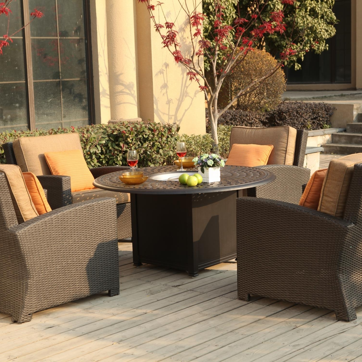 Patio Conversation Sets With Propane Fire Pit With Regard To Current Darlee Vienna 5 Piece Resin Wicker Patio Fire Pit Set (View 10 of 15)