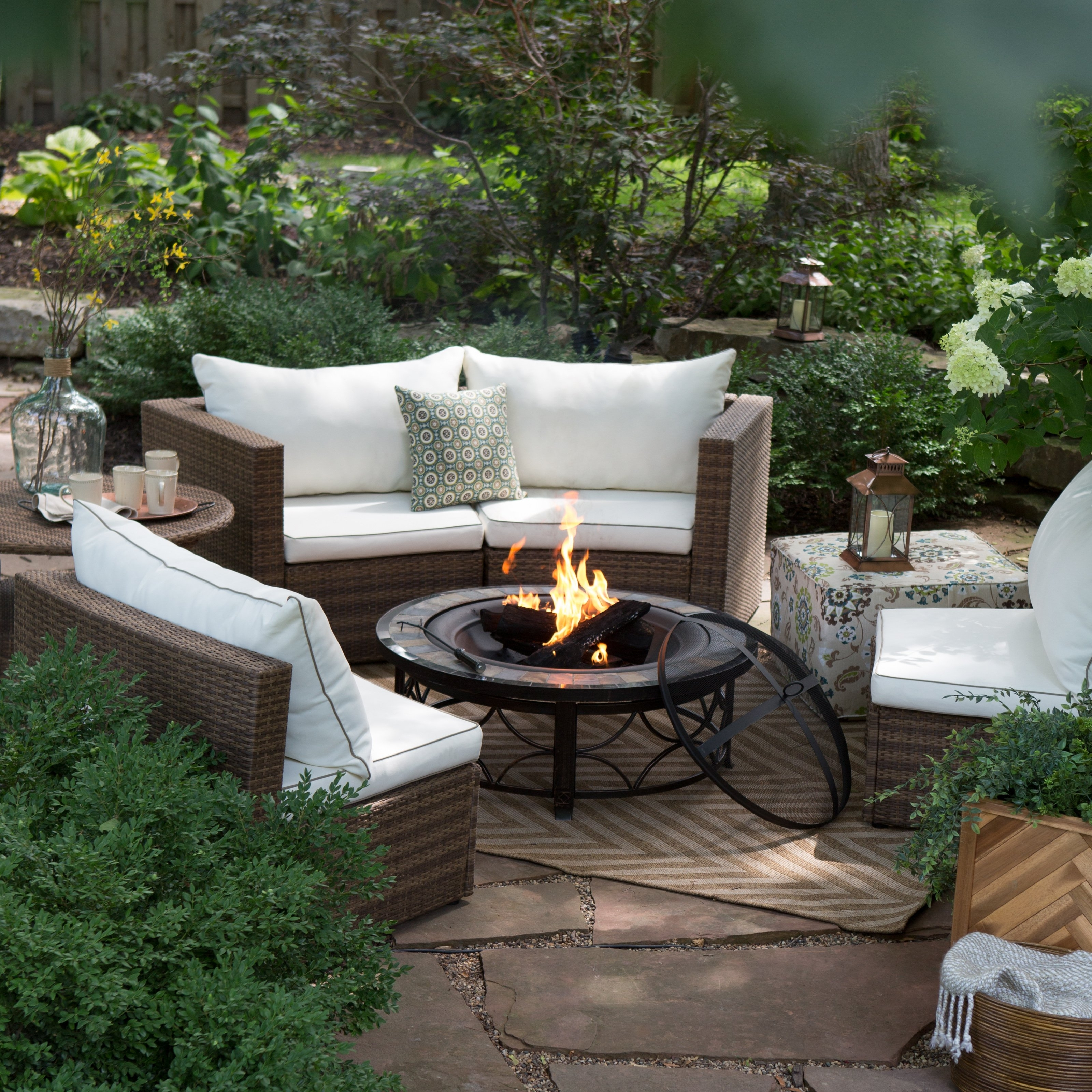 Patio Conversation Sets With Propane Fire Pit Within Trendy Decoration : Fire Pit Chairs Fire Pit Set Outdoor Propane Fire Pit (View 10 of 15)