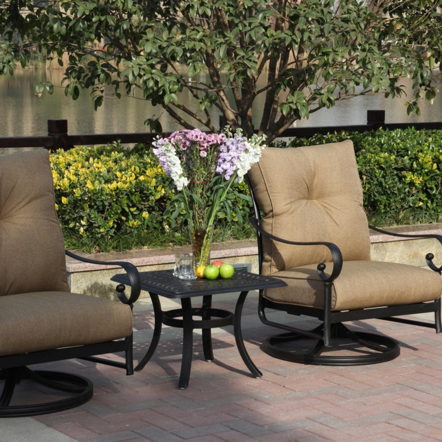 Patio Conversation Sets With Rockers In Fashionable Darlee Santa Anita 3 Piece Cast Aluminum Patio Conversation Seating Set  With Swivel Rockers (View 7 of 15)