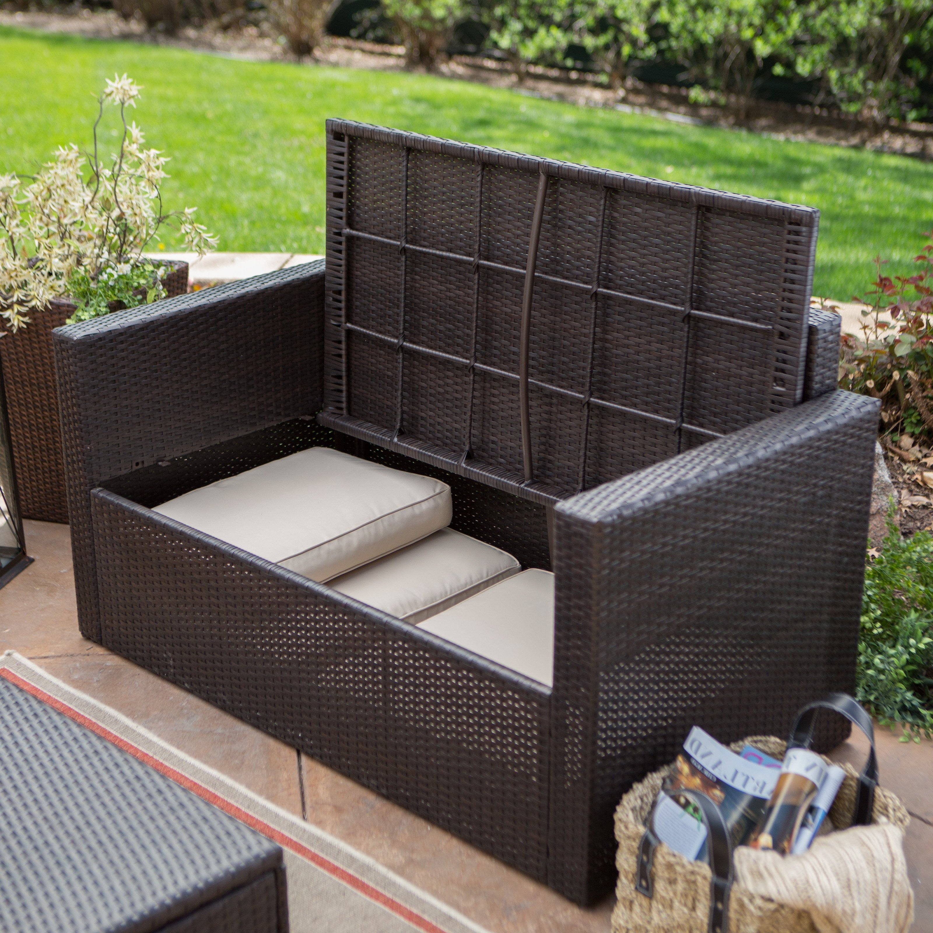 Patio Conversation Sets With Storage For Most Current Coral Coast Berea Outdoor Wicker Storage Loveseat With Cushions (View 9 of 15)