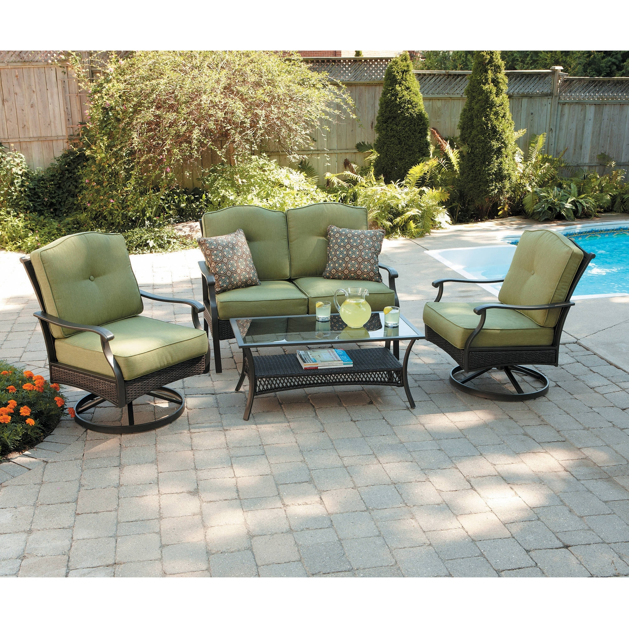 Patio Conversation Sets With Storage In Popular Better Homes And Gardens Providence 4 Piece Patio Conversation Set (View 10 of 15)