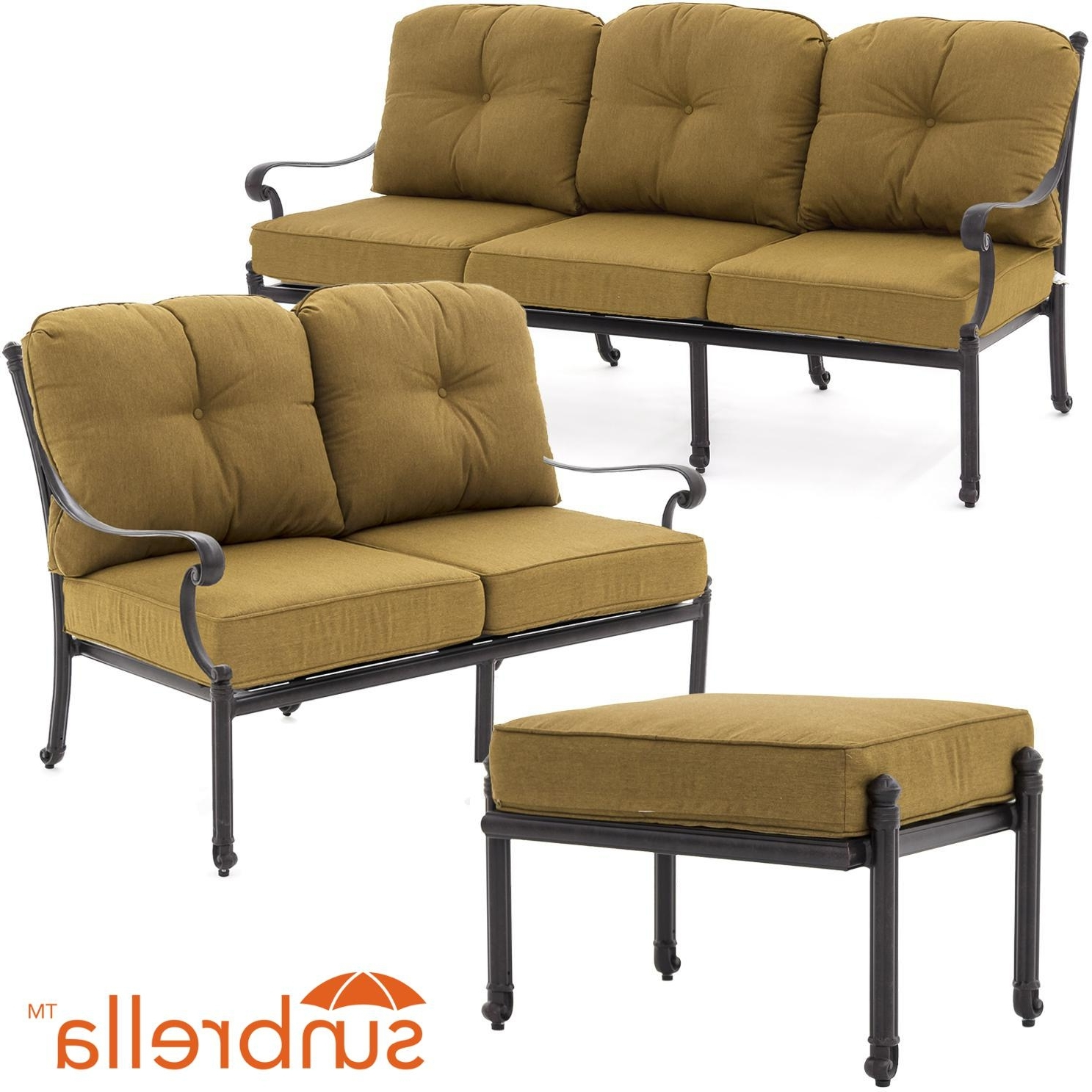 Patio Conversation Sets With Sunbrella Cushions Intended For Widely Used Evangeline 3 Piece Cast Aluminum Outdoor Conversation Set W (View 10 of 15)
