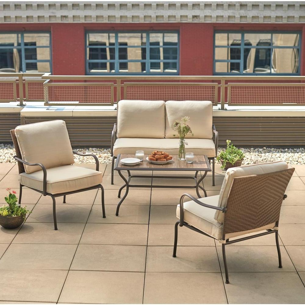 Patio Conversation Sets With Sunbrella Cushions With Popular Hampton Bay Pin Oak 4 Piece Wicker Outdoor Patio Conversation Set (View 8 of 15)