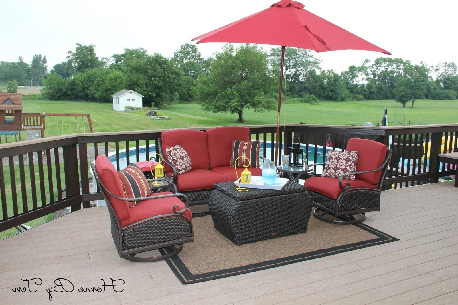 Patio Conversation Sets With Umbrella Inside Well Liked Patio Furniture With Umbrella Home Depot (View 5 of 15)