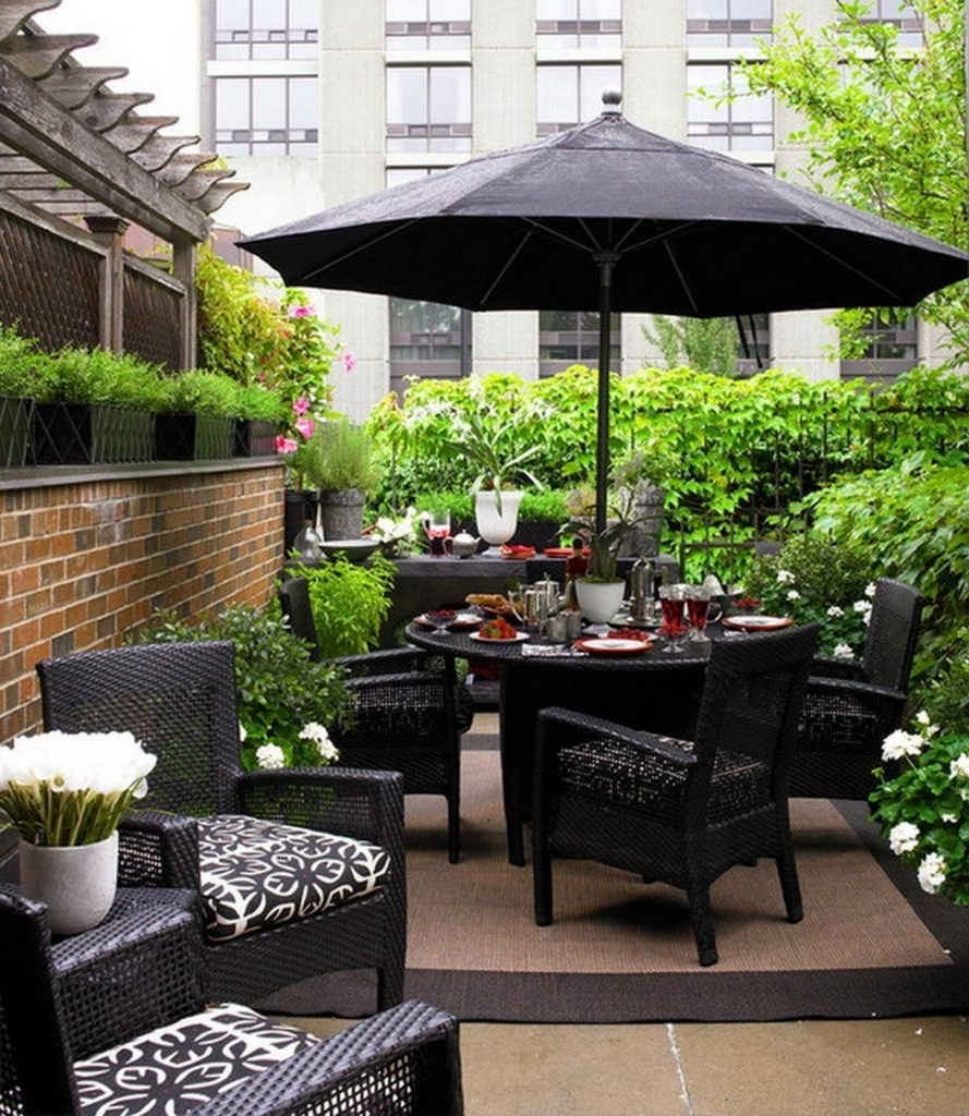 Patio Conversation Sets With Umbrella With Popular Black Wicker Outdoor Patio Furniture With Umbrella For Small Patio (View 15 of 15)