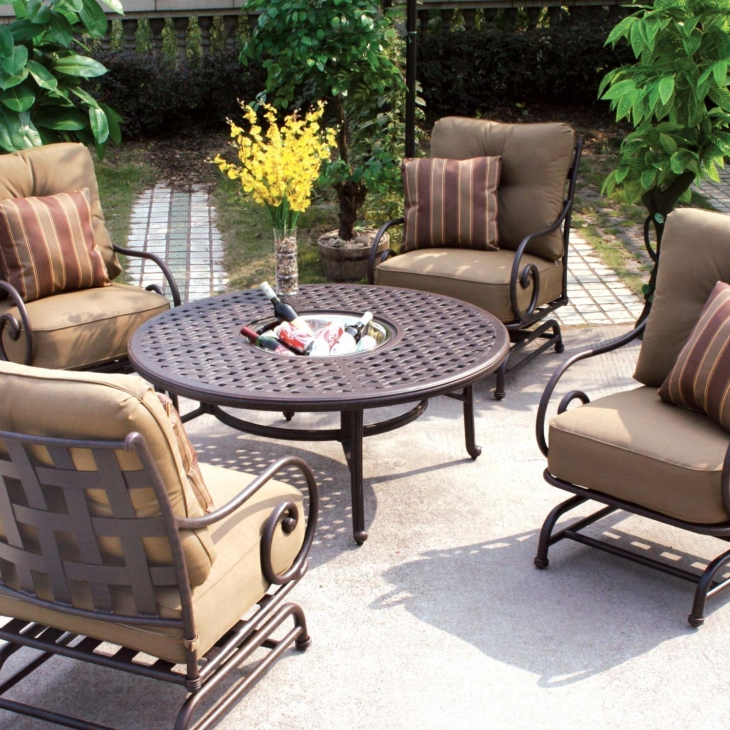 Patio Furniture Conversation Sets At Home Depot Within Most Recently Released Darlee Malibu 5 Piece Cast Aluminum Patio Conversation Seating Set (View 11 of 15)