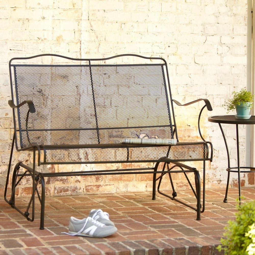 Patio Furniture Rocking Benches For Widely Used Hampton Bay Jackson Patio Loveseat Glider 7894000 0105157 – The Home (View 8 of 15)
