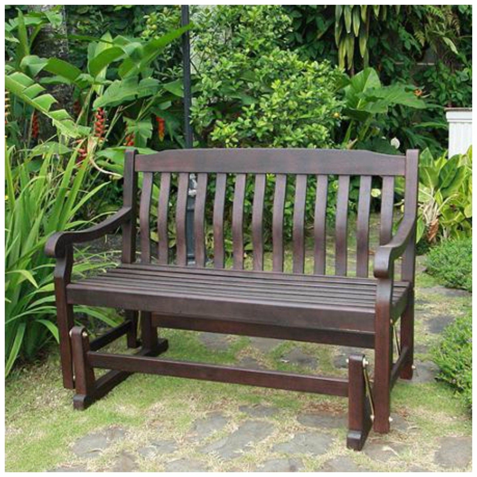 Patio Furniture Rocking Benches Pertaining To 2017 Double Lawn Glider Swing Seatlatform Yard Chair Bench Treated Patio (View 10 of 15)