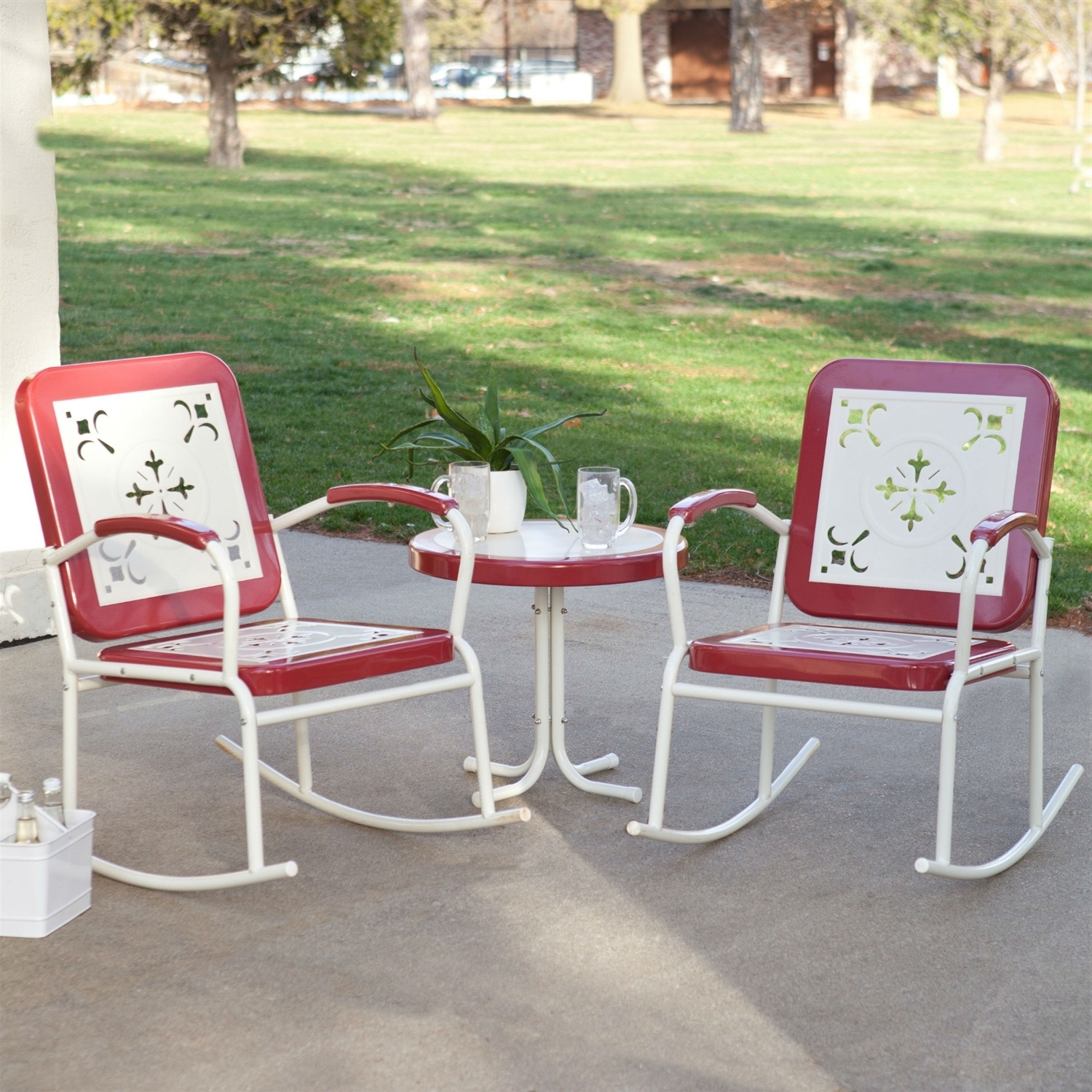 Patio Metal Rocking Chairs Within Best And Newest Cherry Red Retro Patio 3 Pc (View 12 of 15)