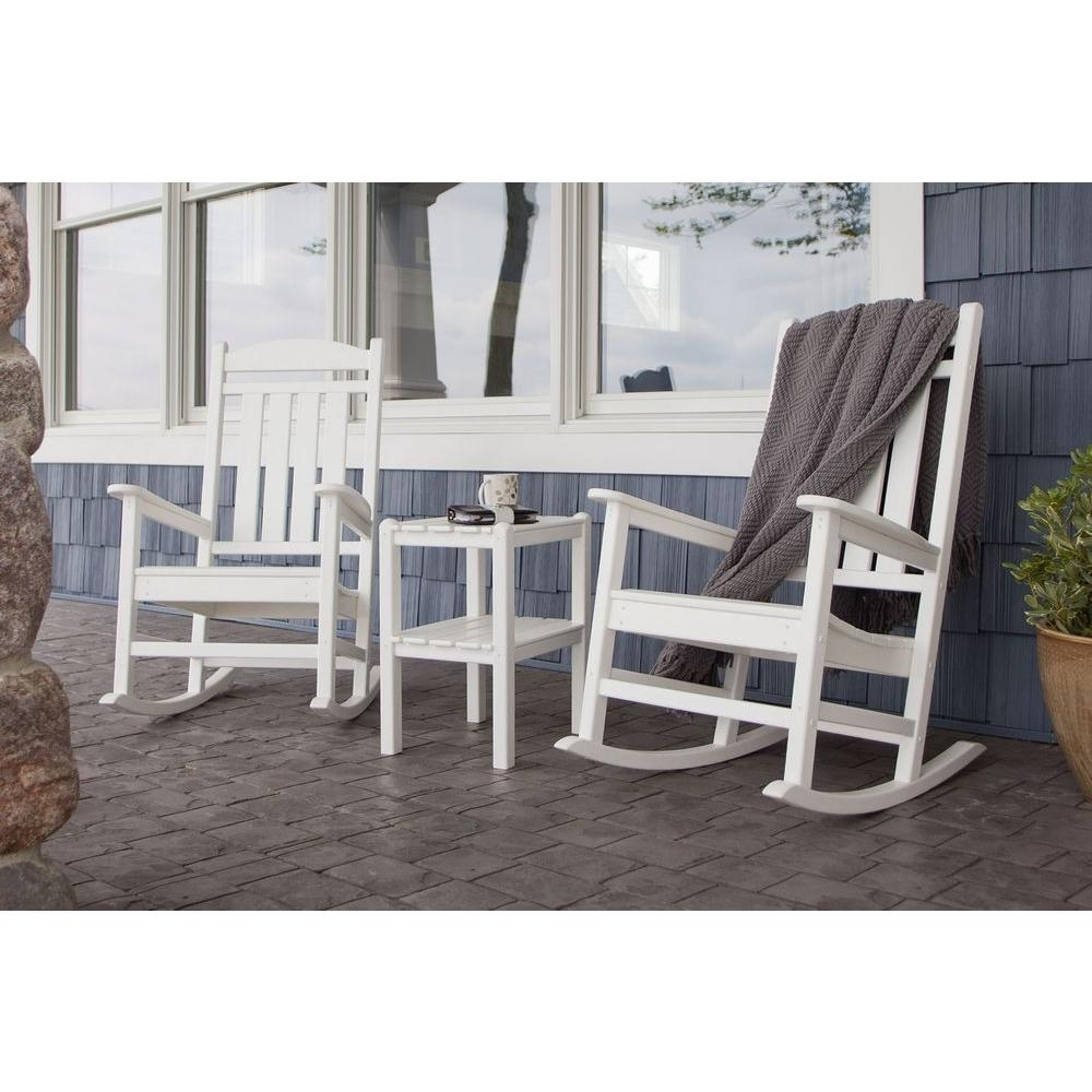 Patio Rocking Chairs And Table In Most Recent Polywood Presidential White 3 Piece Patio Rocker Set Pws138 1 Wh (View 4 of 15)