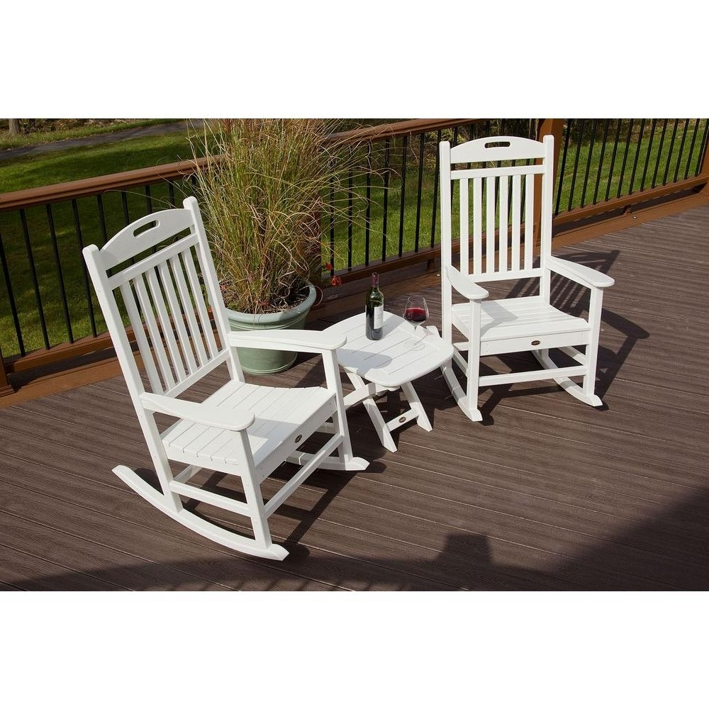 Patio Rocking Chairs And Table Throughout Popular Trex Outdoor Furniture Yacht Club Classic White 3 Piece Patio Rocker (View 10 of 15)
