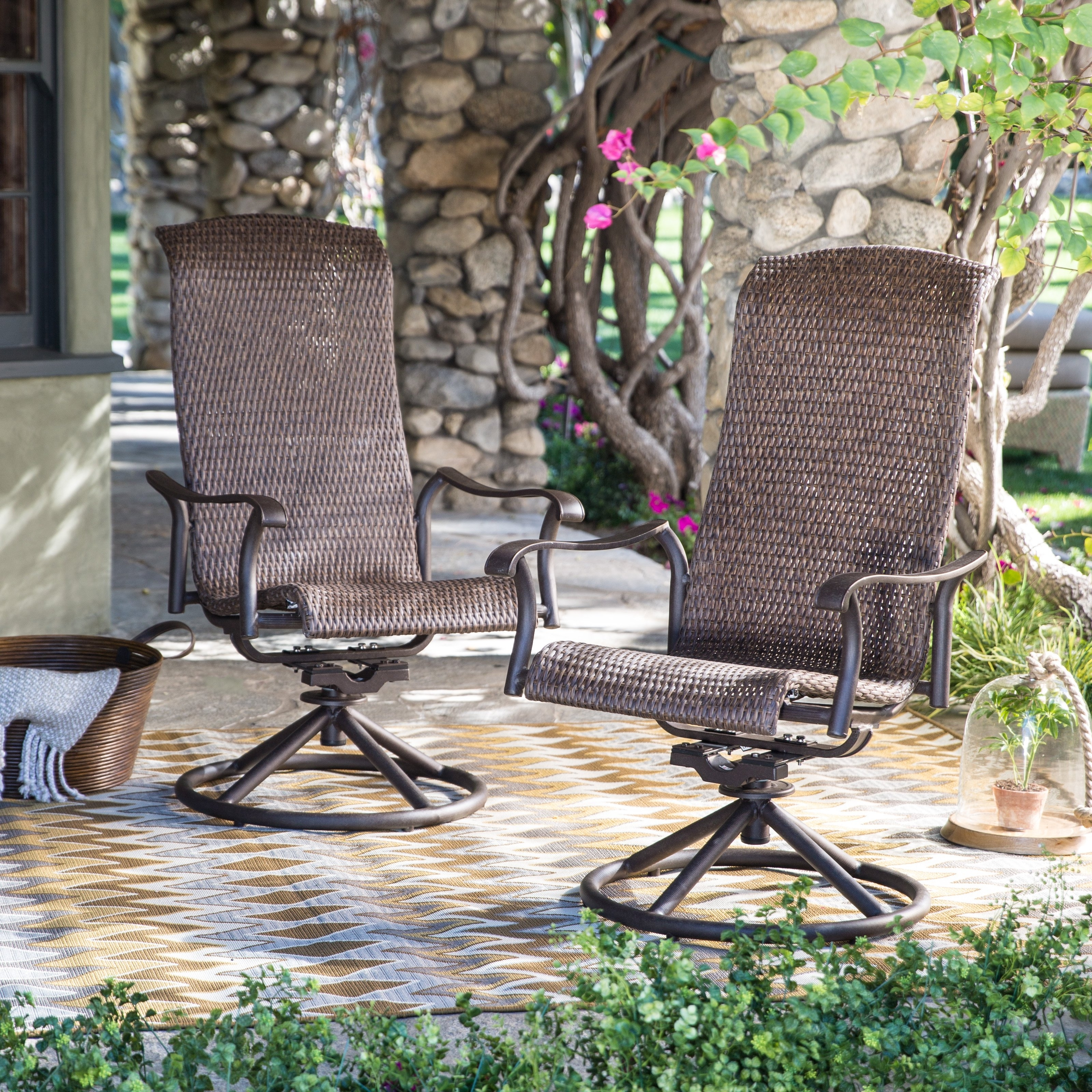 Patio Rocking Swivel Chairs Regarding Well Liked Belham Living Charter All Weather Wicker Swivel Rocker – Set Of  (View 12 of 15)