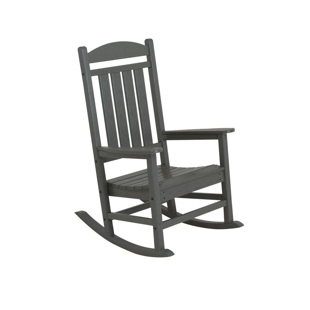 Plastic Patio Rocking Chairs For Most Recently Released Polywood Presidential Slate Grey Plastic Patio Rocker R100Gy – The (View 6 of 15)