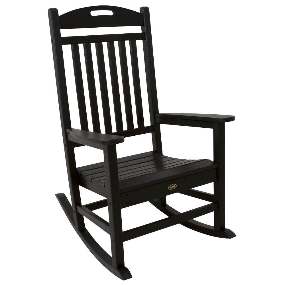 Plastic Patio Rocking Chairs In Current Trex Outdoor Furniture Yacht Club Charcoal Black Patio Rocker (View 7 of 15)