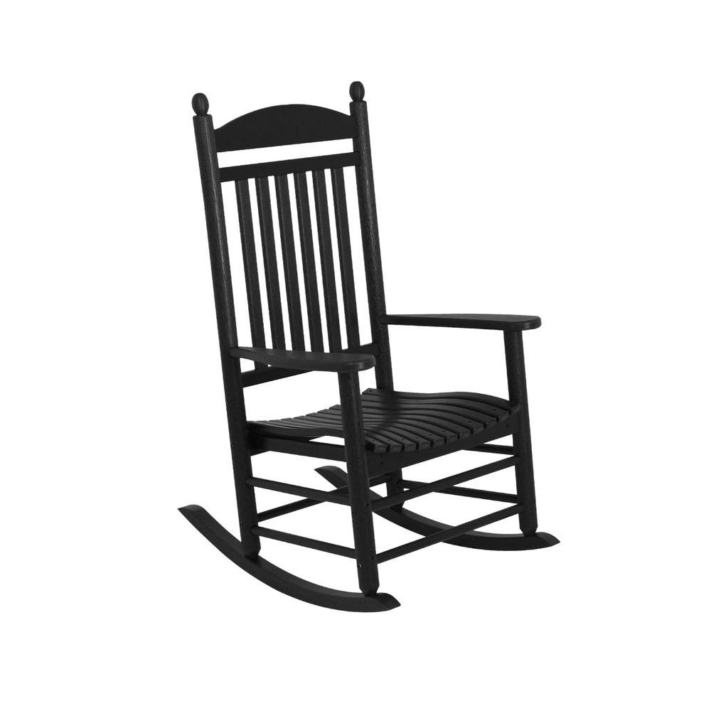 Polywood Jefferson Black Patio Rocker J147Bl – The Home Depot In Fashionable Patio Rocking Chairs With Covers (View 12 of 15)
