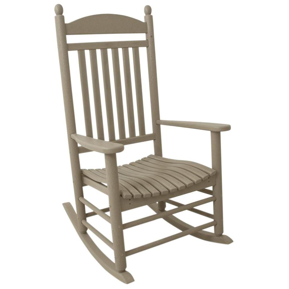 Polywood Jefferson Sand Patio Rocker J147Sa – The Home Depot Within Best And Newest Outdoor Rocking Chairs (View 11 of 15)