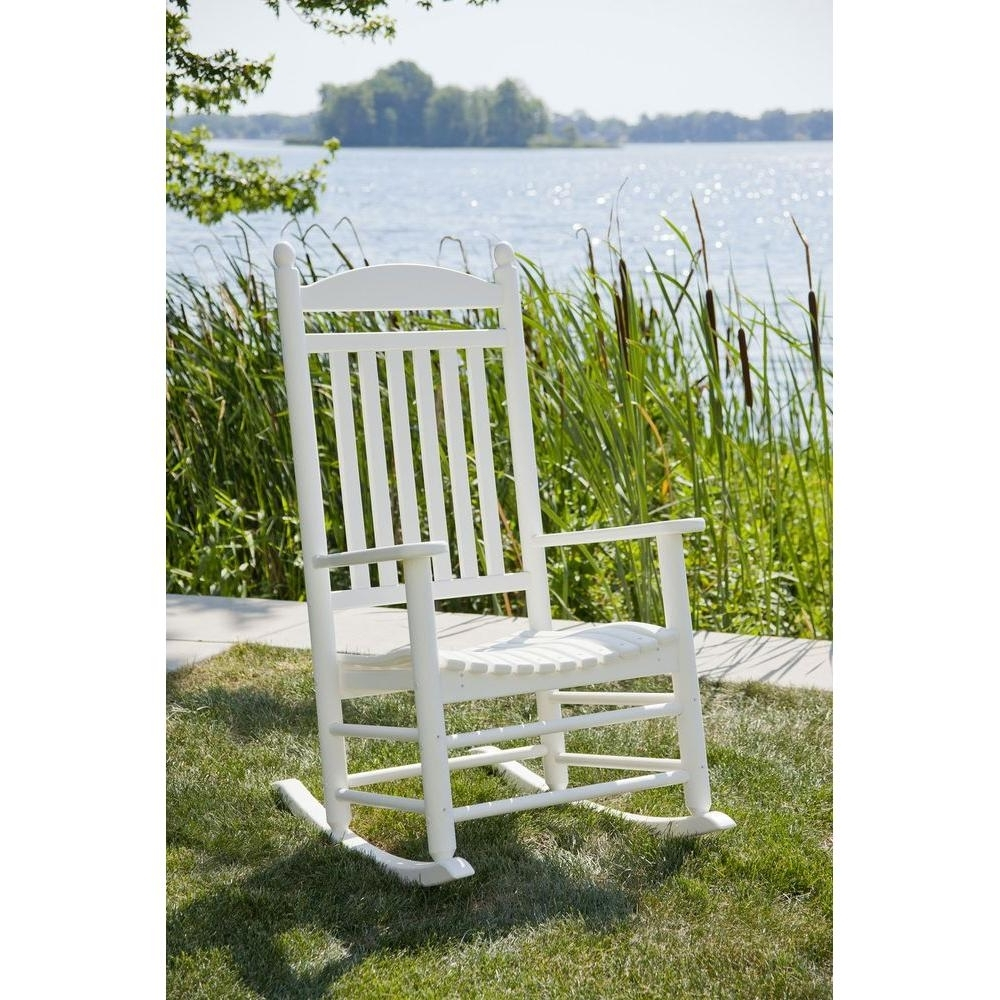 Polywood Jefferson White Patio Rocker J147Wh – The Home Depot Within Preferred Plastic Patio Rocking Chairs (View 8 of 15)