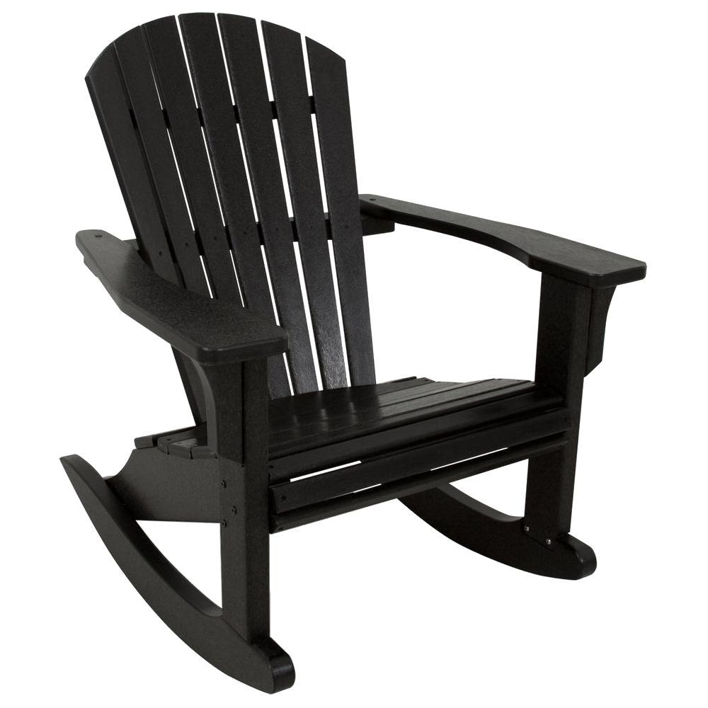 Polywood Seashell Black Patio Rocker Shr22Bl – The Home Depot Inside 2017 Black Patio Rocking Chairs (View 14 of 15)
