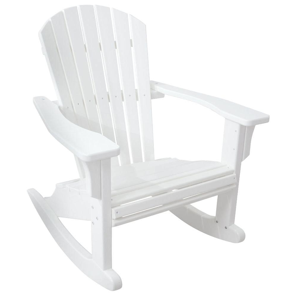 Polywood Seashell White Patio Rocker Shr22Wh – The Home Depot For Trendy White Resin Patio Rocking Chairs (View 7 of 15)