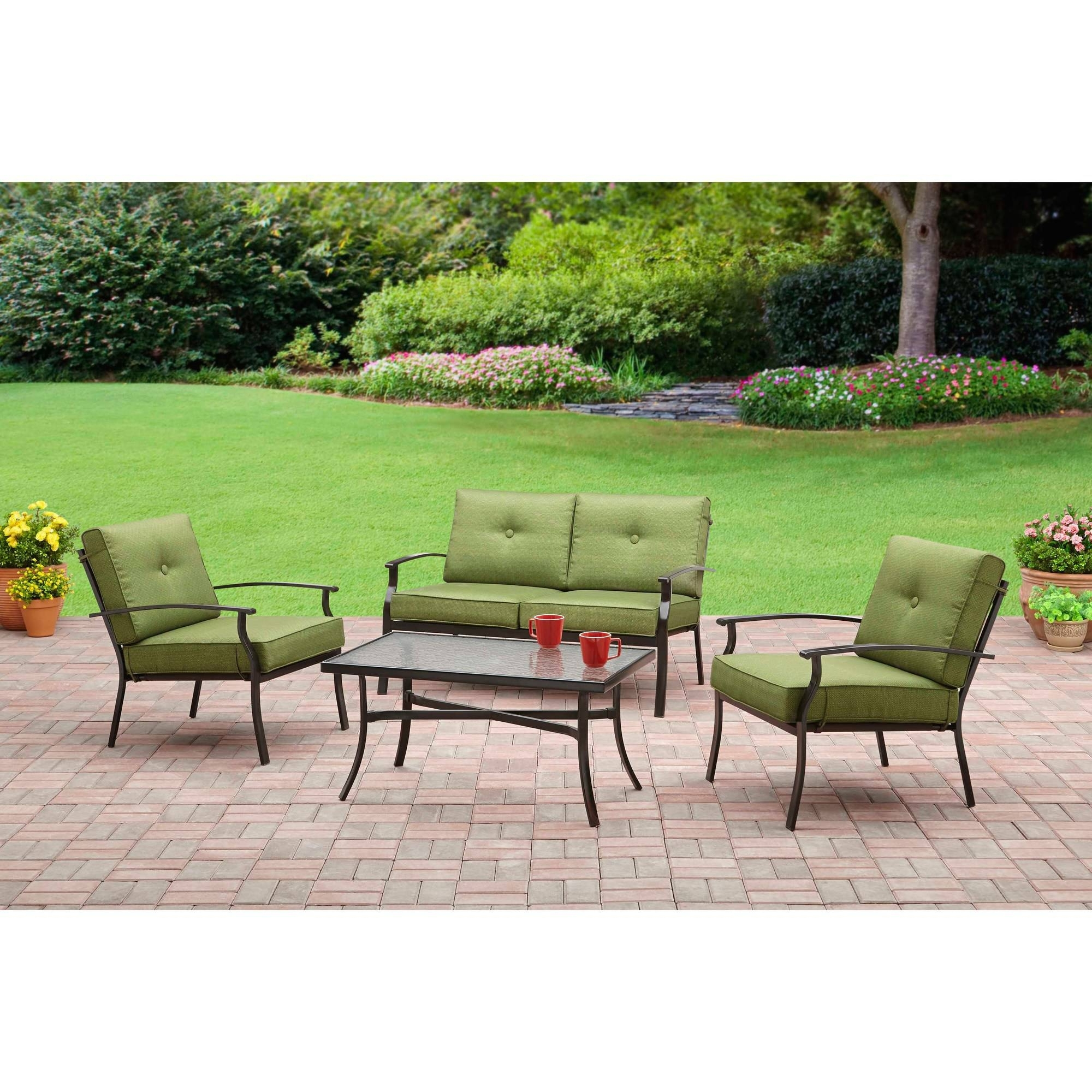 Popular 4 Piece Patio Conversation Sets Intended For Mainstays Bryant Place 4 Piece Conversation Set, Green – Walmart (View 13 of 15)
