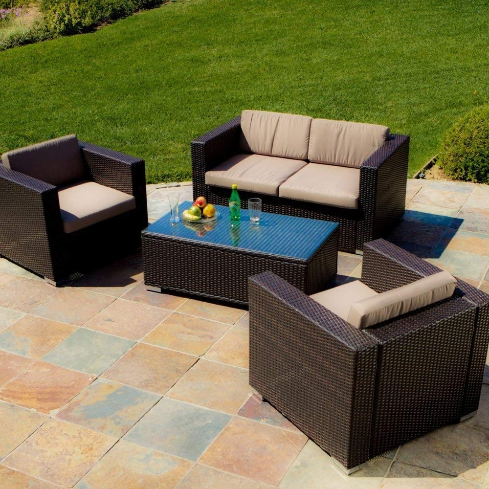 Popular Amazon : Murano 4 Piece Deep Seating Group With Cushions Inside Dot Patio Conversation Sets (View 13 of 15)