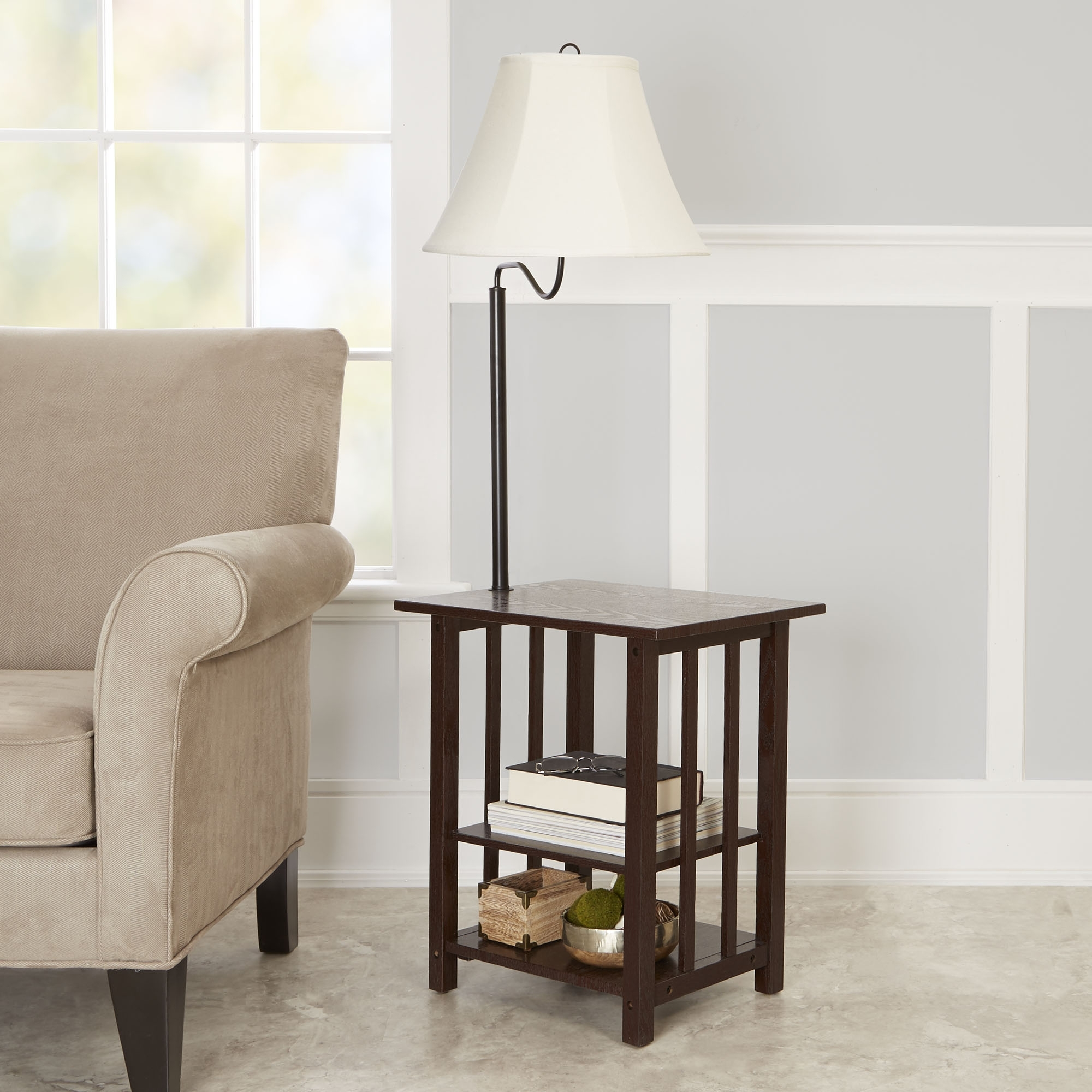 Popular Better Homes & Gardens 3 Rack End Table Floor Lamp, Espresso Finish With Regard To Walmart Living Room Table Lamps (View 8 of 15)