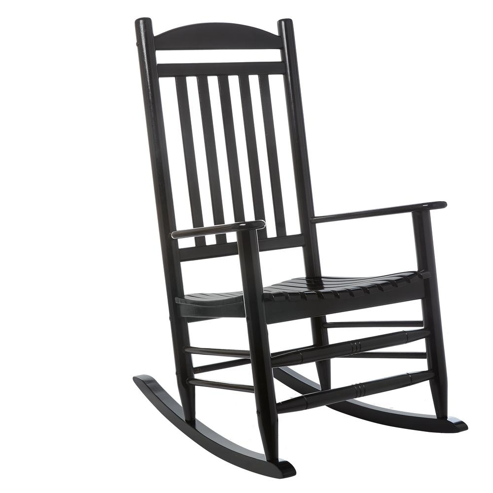 Popular Black Rocking Chairs Inside Hampton Bay Black Wood Outdoor Rocking Chair 2. (View 9 of 15)