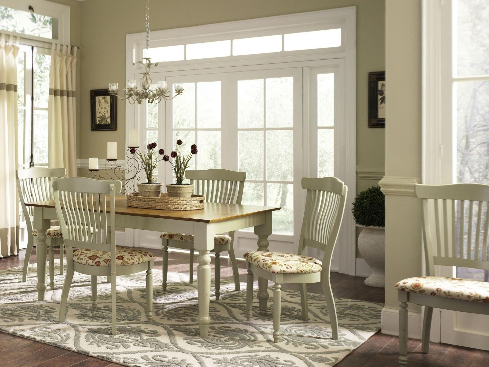 Popular Country Living Room Table Lamps Throughout Modern Dining Room Ideas White French Country Wooden Dining Table (View 9 of 15)