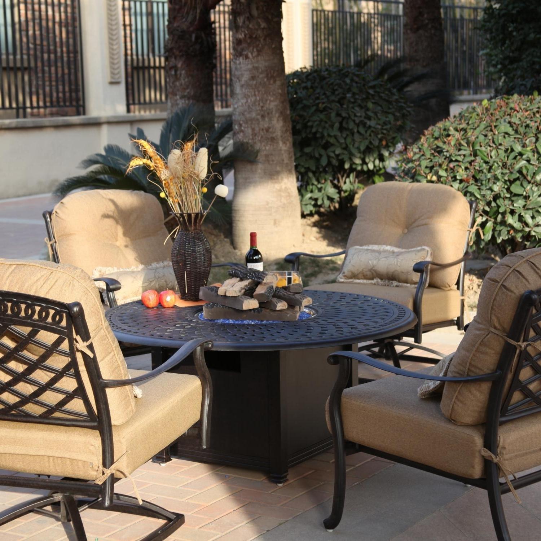 Popular Darlee Sedona 5 Piece Cast Aluminum Patio Fire Pit Conversation Inside Outdoor Patio Furniture Conversation Sets (View 13 of 15)