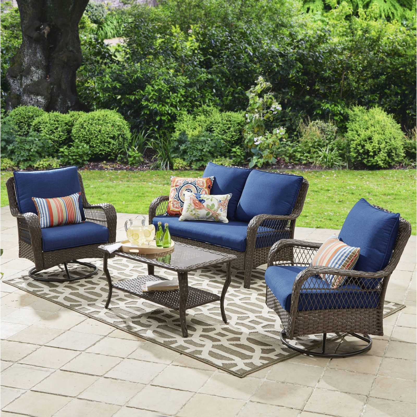 Popular Ebay Patio Conversation Sets In Colebrook 4 Piece Outdoor Patio Conversation Set Seats 4 Deck (View 14 of 15)