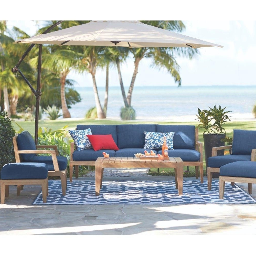 Popular Home Decorators Collection Bermuda 6 Piece All Weather Eucalyptus Within Patio Conversation Sets With Umbrella (View 3 of 15)