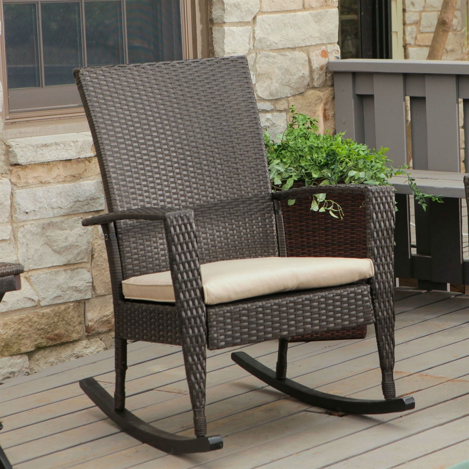 Popular Indoor Wicker Rocking Chairs With Indoor/outdoor Patio Porch Dark Brown High Back Wicker Rocking Chair (View 7 of 15)
