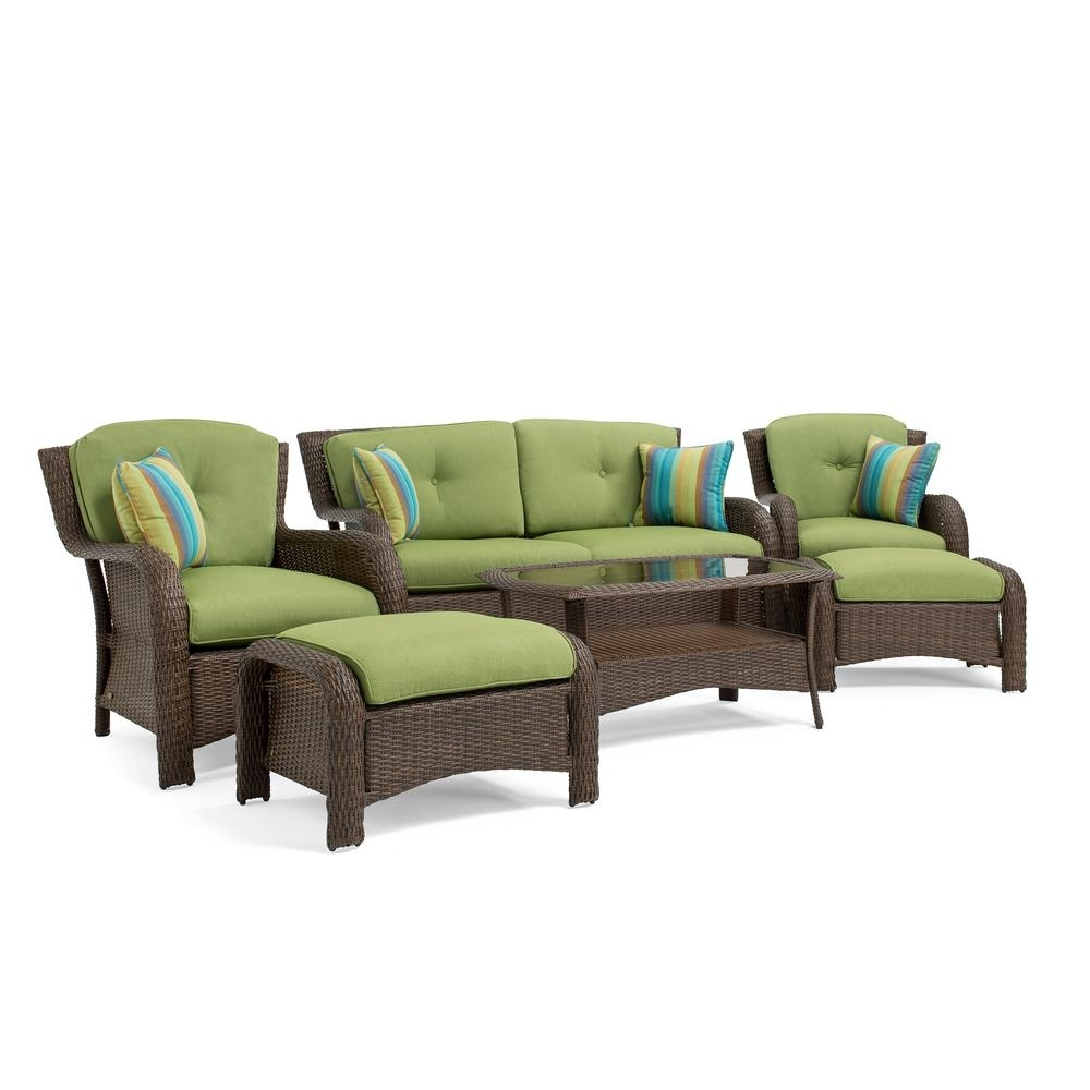 Popular Lazy Boy Patio Conversation Sets Pertaining To La Z Boy Sawyer 6 Piece Wicker Outdoor Seating Set With Sunbrella (View 11 of 15)