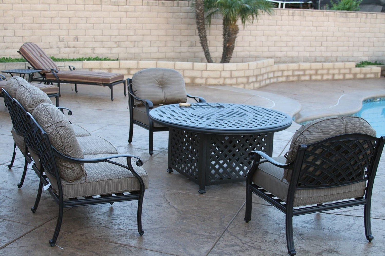 Popular Nassau 5Pc Deep Seating Conversation Set – 1 Loveseat, 2 Club Chairs With Regard To Round Patio Conversation Sets (View 6 of 15)